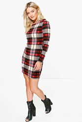 Boohoo Tartan Bodycon Dress Red