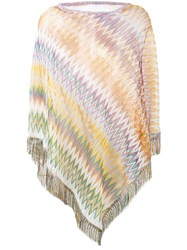 Missoni Zig Zag Crochet Knit Poncho Women Polyamide Viscose One Size Yellow Orange
