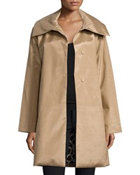 Jane Post Snap Front High Sheen Coat Size M Brown Camel