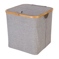 Moeve Bamboo And Canvas Storage Basket Grey
