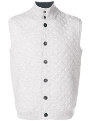 N.Peal Quilted Knit Waistcoat Grey
