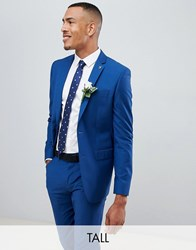 Farah Tall Wedding Skinny Suit Jacket In Blue Regatta Blue