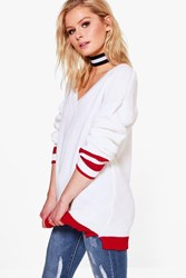 Boohoo Holly Sports Tip Rib Edge Jumper Red