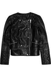 J.Crew Collection Quilted Leather Biker Jacket Black