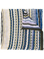 Missoni Striped Knitted Scarf Women Cotton Polyamide Viscose One Size
