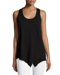 W By Wilt Mix Ribbed Racerback Asymmetric Tank Black
