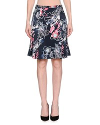 Giorgio Armani Abstract Floral Print Silk Satin A Line Knee Length Skirt Blue Pattern