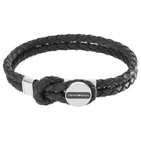 Emporio Armani Men's Braided Leather Bracelet Black Silver