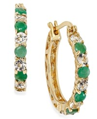 Victoria Townsend Emerald 7 8 Ct. T.W. And White Topaz 1 1 10 Ct. T.W. Hoop Earrings In 18K Gold Over Sterling Silver 23Mm No Color