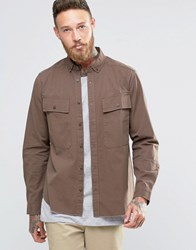 Asos Shacket Military Shirt With Pockets And Raw Hem In Brown Brown