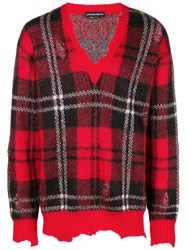 Alexander Mcqueen Checked Print With Distressed Details Wool Red