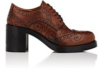 Miu Miu Women's Perforated Leather Lace Up Oxfords Brown