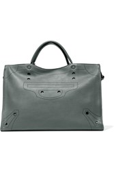 Balenciaga Blackout City Perforated Matte Leather Tote Dark Gray