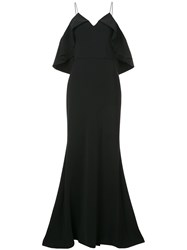 Christian Siriano Cold Shoulder Gown Black