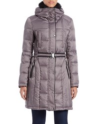Vince Camuto Faux Fur Collared Quilted Coat Grey
