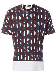 Marni Geometric Print T Shirt Bordeaux