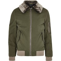 River Island Mens Khaki Green Faux Fur Collar Aviator Jacket