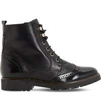 Dune Parka Brogue Leather Ankle Boots Black Leather Mix