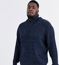 Jacamo Shawl Neck Cable Knit Jumper In Navy