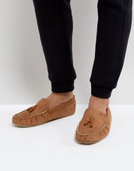 Asos Slippers In Tan With Faux Shearling Lining Tan