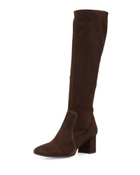 Prada Low Heel Stretch Suede Knee Boot Dark Brown