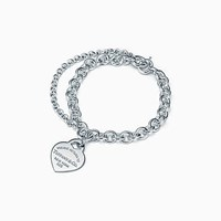 Tiffany And Co. Return To Tiffanytm Double Chain Heart Tag Bracelet In Sterling Silver Large.