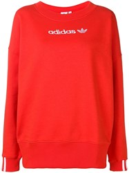 Adidas Logo Print Jumper Red