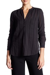 Vince Split Neck Burnout Shirt Black