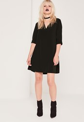 Missguided Lace Up Front 3 4 Swing Dress Black