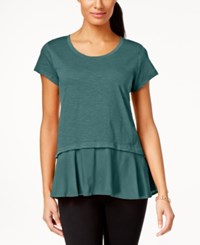 Styleandco. Style Co. Layered Look Peplum T Shirt Only At Macy's Green Nectar
