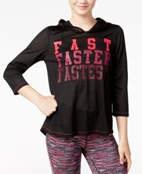 Energie Active Juniors' Fiona Tulip Back Graphic Hoodie Caviar Electric