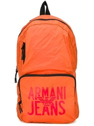 Armani Jeans Logo Print Backpack Yellow And Orange