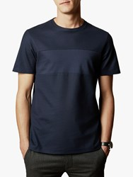 Ted Baker Helter Cotton Panel T Shirt Navy