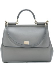 Dolce And Gabbana Large 'Sicily' Tote Grey