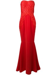Rhea Costa Strapless Lace Gown Women Silk Viscose 44 Red