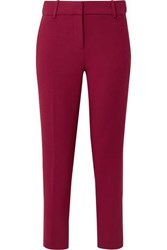 J.Crew Cameron Cropped Cady Tapered Pants Burgundy