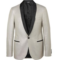 Lanvin Silver Faille Trimmed Wool Blend Tuxedo Jacket