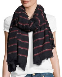 Rag And Bone Rowing Striped Scarf With Fringed Edges Navy Blue Pattern