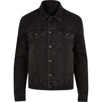 River Island Big And Tall Black Distressed Denim Jacket