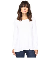 Dylan By True Grit Glam Softest Fleece Asymmetrical Pullover White Women's Clothing