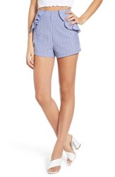 The Fifth Label Parcel Ruffle Detail Shorts Blue With White