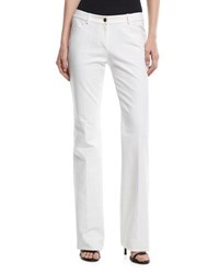 Michael Kors Mid Rise Flared Stretch Cotton Pants White