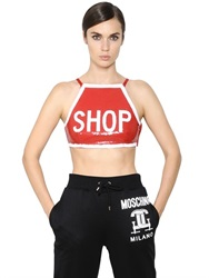 Moschino Shop Sequined Stretch Satin Crop Top
