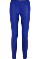 Les Chiffoniers Mid Rise Leather Slim Leg Pants