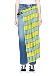 Facetasm Pleated Check Overlay Jeans Multi Colour