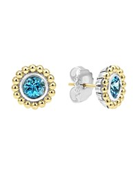 Lagos Sterling Silver And 18K Gold Stud Earrings With Blue Topaz