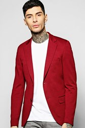 Boohoo Slim Fit Honeycomb Blazer Burgundy