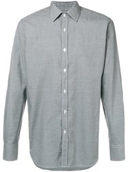 Canali Micro Houndstooth Print Shirt Blue