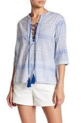 Gypsy 05 Mandarin Collar Lace Up Shirt Blue