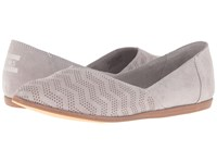 Toms Jutti Flat Drizzle Grey Suede Chevron Embossed Women's Flat Shoes Gray